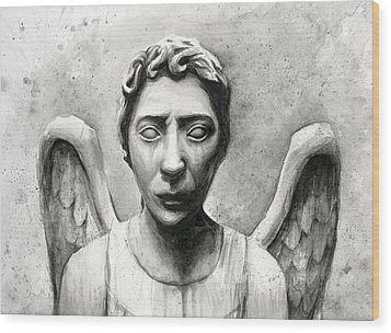 Weeping Angel Don't Blink Doctor Who Fan Art Wood Print by Olga Shvartsur