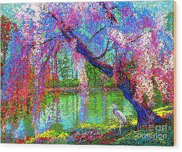 Weeping Beauty, Cherry Blossom Tree And Heron Wood Print