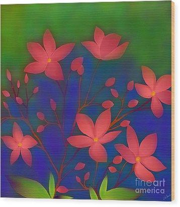 Wood Print featuring the digital art Weeping Jatrophas by Latha Gokuldas Panicker