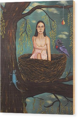 Weeping Willow Wood Print by Leah Saulnier The Painting Maniac