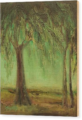 Weeping Willow Wood Print by Mary Wolf
