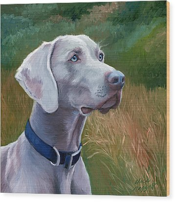 Weimaraner Dog Wood Print by Alice Leggett