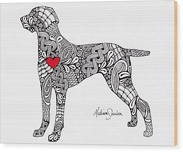 Wood Print featuring the drawing Weimaraner by Melissa Sherbon