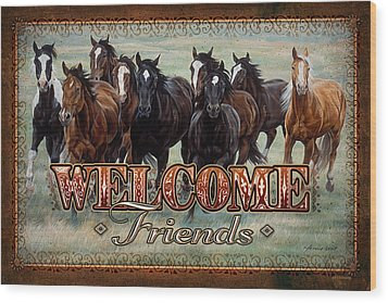 Wood Print featuring the painting Welcome Friends Horses by JQ Licensing