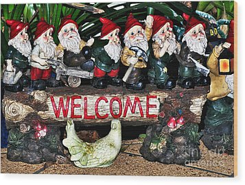 Welcome From The Seven Dwarfs Wood Print by Kaye Menner
