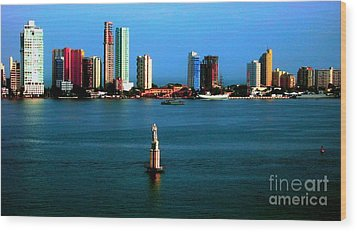 Welcome To Cartagena Colombia Wood Print by Ann Johndro-Collins