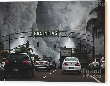 Wood Print featuring the photograph Welcome To Encinitas California 5d24221 by Wingsdomain Art and Photography