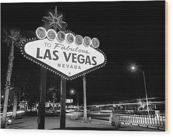 Welcome To Fabulous Las Vegas - Neon Sign In Black And White Wood Print by Gregory Ballos