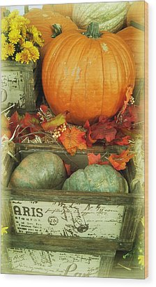 Welcome To Fall Wood Print by Michelle Frizzell-Thompson