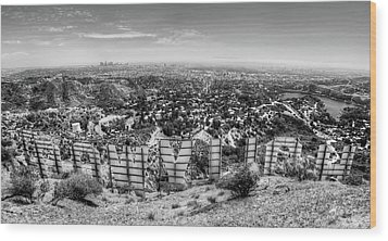 Welcome To Hollywood - Bw Wood Print