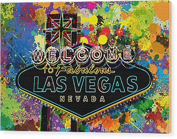 Welcome To Las Vegas Wood Print by Gary Grayson
