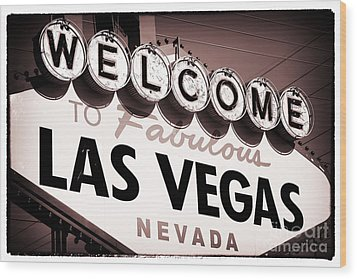 Welcome To Las Vegas Red Tone Wood Print by John Rizzuto
