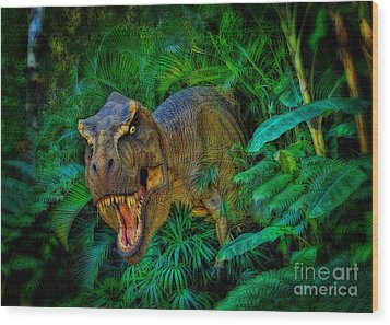 Welcome To My Park Tyrannosaurus Rex Wood Print by Olga Hamilton