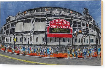 Welcome To Wrigley Field Wood Print by Phil Strang