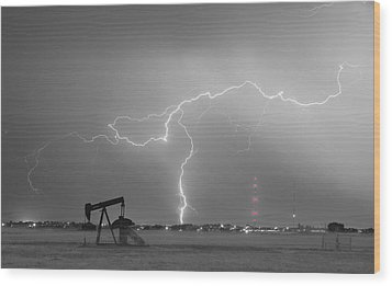 Weld County Dacona Oil Fields Lightning Thunderstorm Bwsc Wood Print by James BO  Insogna