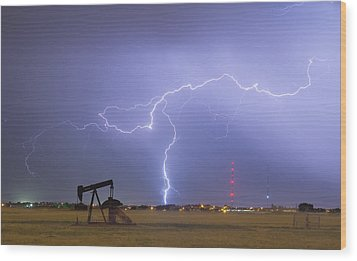 Weld County Dacona Oil Fields Lightning Thunderstorm Wood Print by James BO  Insogna