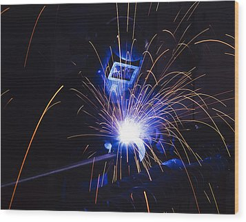 Welding  Wood Print by Andrew James