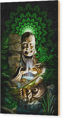 Wood Print featuring the painting Well Of The Heart by Jalai Lama
