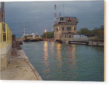 Wood Print featuring the photograph Welland Canal Locks by Barbara McDevitt