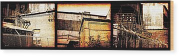 Welland Forge Triptych 1 Wood Print by The Art of Marsha Charlebois