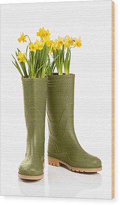 Wellington Boots Wood Print by Amanda Elwell