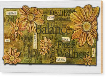 Wellness Wood Print by Lisa Fiedler Jaworski