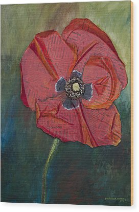Wellness Poppy Wood Print by Lisa Fiedler Jaworski