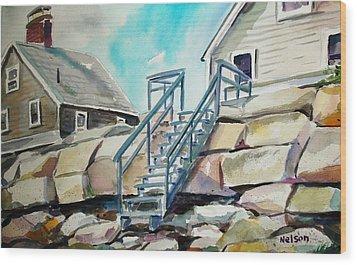 Wells Beach Beach Stairs Wood Print by Scott Nelson