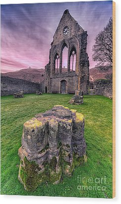 Welsh Abbey  Wood Print by Adrian Evans