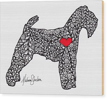 Wood Print featuring the drawing Welsh Terrier by Melissa Sherbon