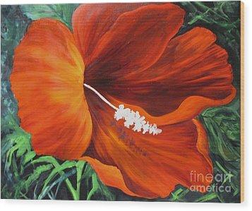 Wendy's Red Hibiscus Wood Print