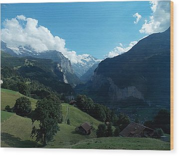 Wengen View Of The Alps Wood Print