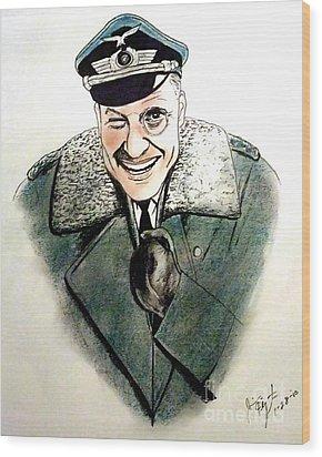 Werner Klemperer As Col Klink On Hogans Heroes   Wood Print by Jim Fitzpatrick