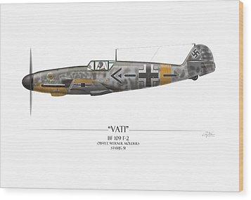 Werner Molders Messerschmitt Bf-109 - White Background Wood Print by Craig Tinder