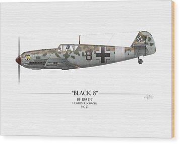 Werner Schroer Messerschmitt Bf-109 - White Background Wood Print by Craig Tinder