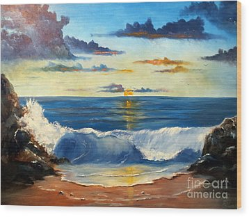 Wood Print featuring the painting West Coast Sunset by Lee Piper