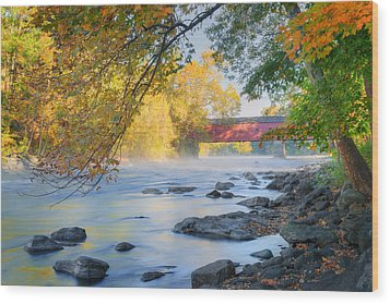 Wood Print featuring the photograph West Cornwall Covered Bridge Autumn by Bill Wakeley