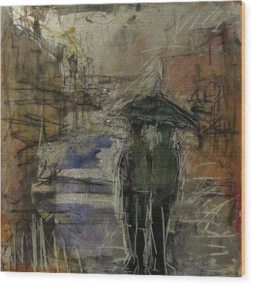 West End Rain Wood Print by Debbie Clarke