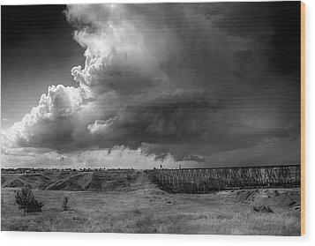 Wood Print featuring the photograph West Lethbridge Storm - Bw by Trever Miller
