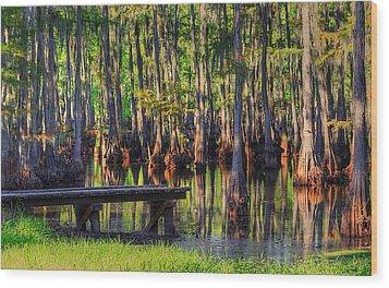 West Monroe Swamp Dock Wood Print by Ester  Rogers