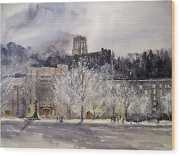 West Point Winter Wood Print