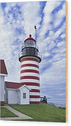 West Quoddy Head Lighthouse And Clouds Wood Print by Marty Saccone