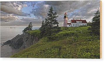 West Quoddy Head Lighthouse Panorama Wood Print by Marty Saccone