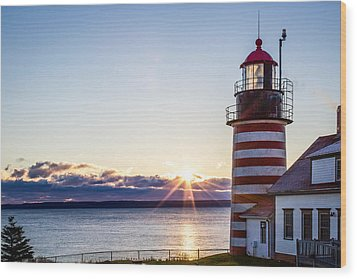 West Quoddy Head Lighthouse Sunrise  Wood Print