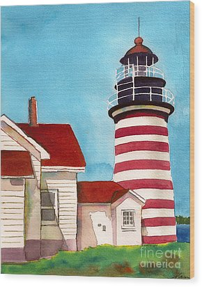 Wood Print featuring the painting West Quoddy Light House by Nan Wright
