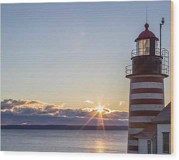 Wood Print featuring the photograph West Quoddy Lighthouse Sunrise by Trace Kittrell