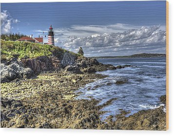Wood Print featuring the photograph West Quoddy Lubec Maine Lighthouse by Shawn Everhart