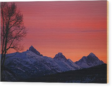 West Side Teton Sunrise Wood Print by Raymond Salani III
