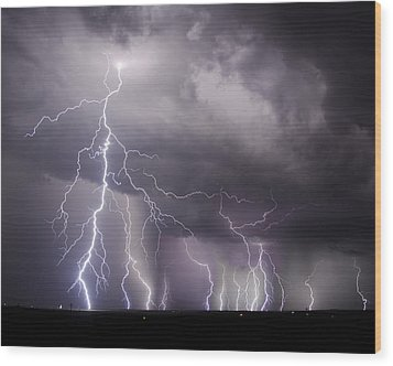 West Texas Light Show Wood Print