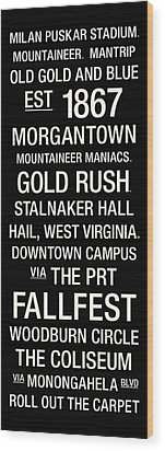 West Virginia College Town Wall Art Wood Print by Replay Photos